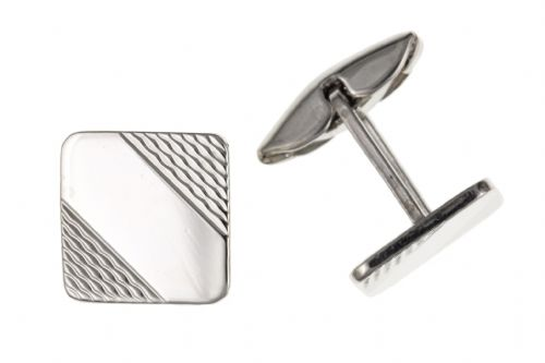 Sterling Silver Patterned Stripe Square Cufflinks